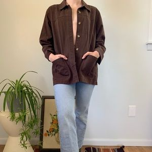 Vintage Brown Cotton Minimalist Utility Jacket